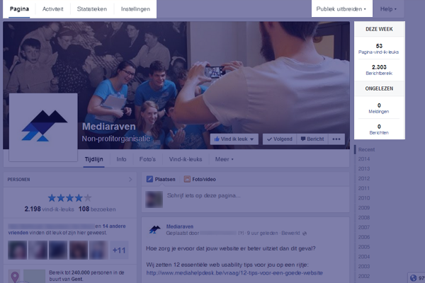 Tabblad bovenaan de facebookpagina in 2014